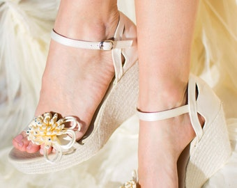 8ddb3b29319 NAOMI Bridal Wedge Ivory Satin Ankle Strap Espadrilles