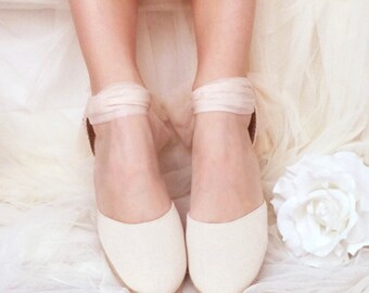 e7cc716947da41 Ivory Swan TULLE MEDIUM Heel Chloe Lace Up Espadrille Wedding