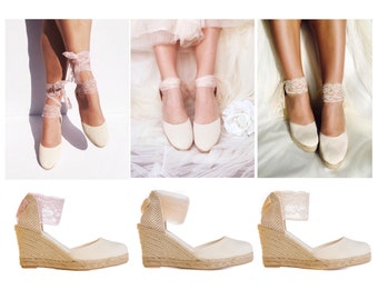 fcee1ad0d47 Wedding shoes wedge   Etsy
