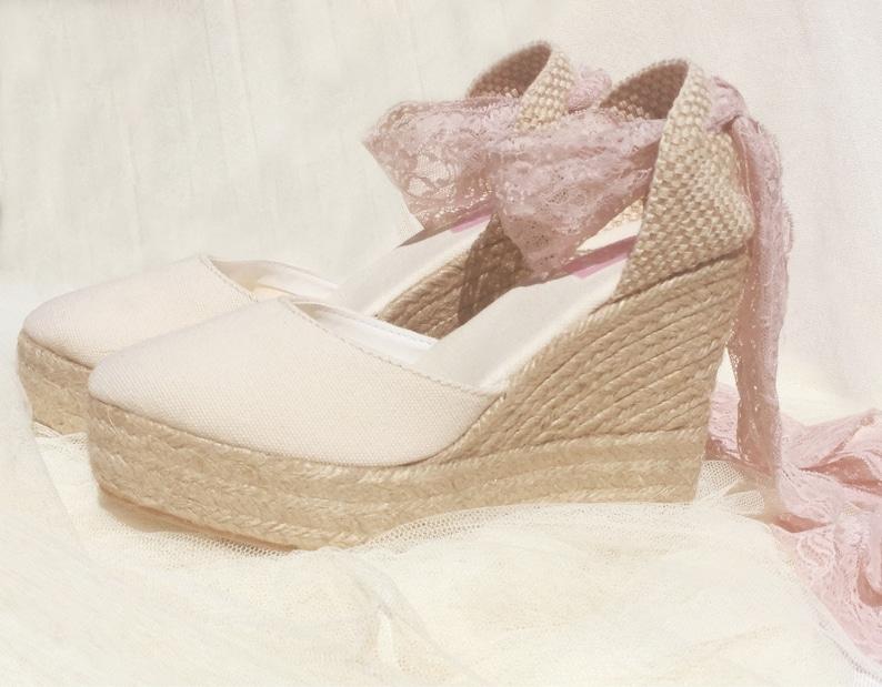 3ce306886ae16 BOHOIBIZA Ivory Blush Pink Laces Up Espadrille, dance shoes, ballerina  shoes, wedding shoes, bridal shoes, bohemian, romantic, pink