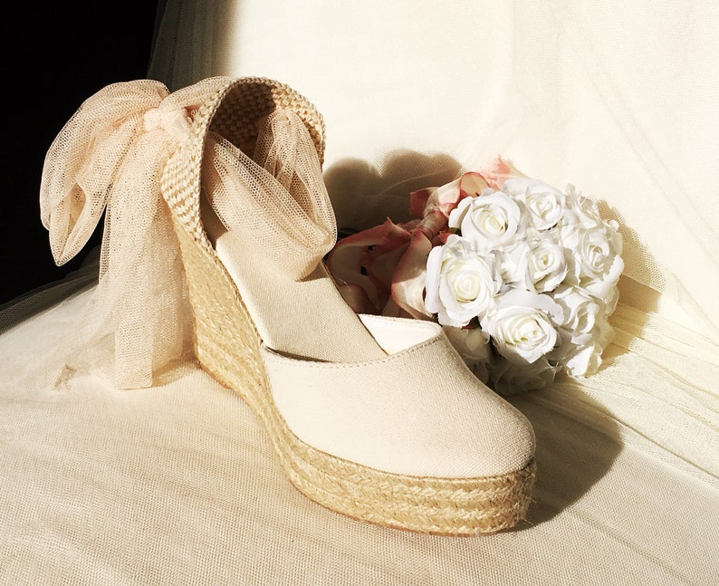 3d21a2712d58 SWAN Tulle Wedge Platform Lace Up Espadrilles Ivory Wedding