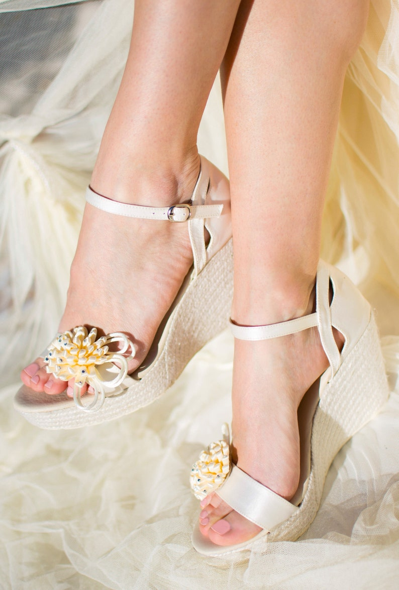 6ea02e02a383 NAOMI Bridal Wedge Ivory Satin Ankle Strap Espadrilles