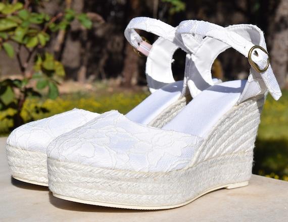 bf7220f212d MEGHAN Platform Lace Espadrilles Wedding shoes Bridal boho
