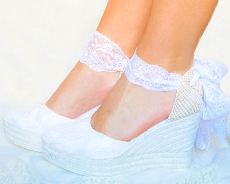 056dde5b475 Chaussures de mariage CAROLINE plate-forme dentelle mariée