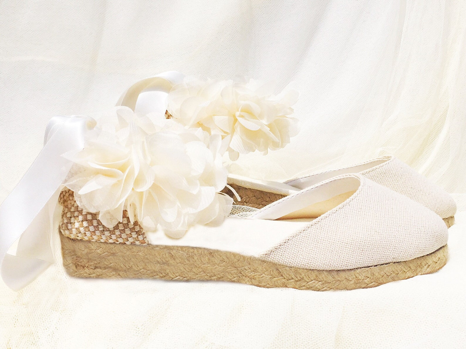 ivory boho low heel, flowers, ballet flats, ballerina, lace up espadrille wedding, bridal shoes, dance shoes, romantic