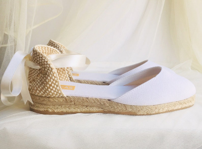 3e83a64fe93 White LOW Heel Chloe Lace Up Espadrille Wedding Bridal shoes