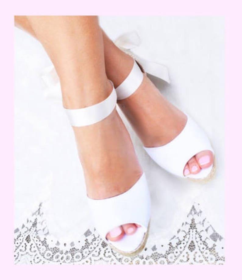 6e355ca0709af ANA Peep Toe Medium Wedge Lace Up Espadrille Boho Wedding, bridal shoes,  ibizencas, reception shoes, bachelorette, baby shower, party shoes
