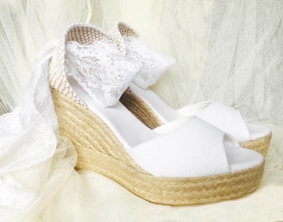 Anna Peep Toe White Lace Platform Wedge Lace Up Espadrille Etsy