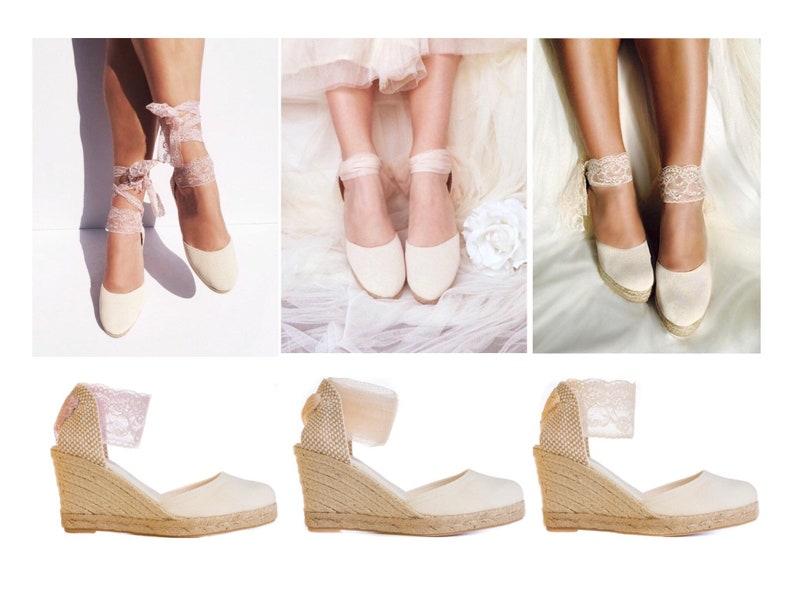 827beae580bc0 IVORY Chloe Wedge Lace Up Espadrilles, Wedding shoes, Bridal shoes, baby  shower, reception shoes, bachelorette, comfortable wedding