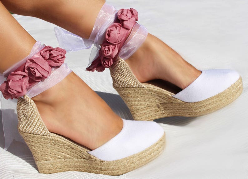 f9884a8aaeb07 AUDREY PLATFORM Wedge Lace Up Espadrille Boho Wedding Wedge High Heel  Espadrille Boho style Wedding, Bridal shoes, Ibizencas, Bridesmaid