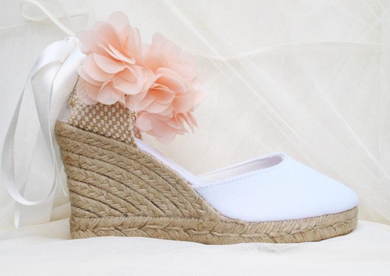 88d9cd84a7fd3 Boho Flower PINK CHLOE Medium Wedge Lace Up Espadrille Wedding Bridal shoes  White