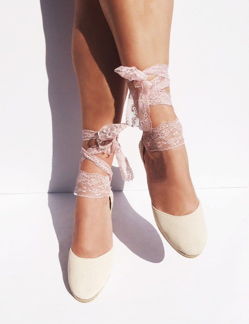 ab22221327f1b BOHOIBIZA Ivory Blush Pink Lace Up Espadrille, dance shoes, ballerina  shoes, wedding shoes, bridal shoes