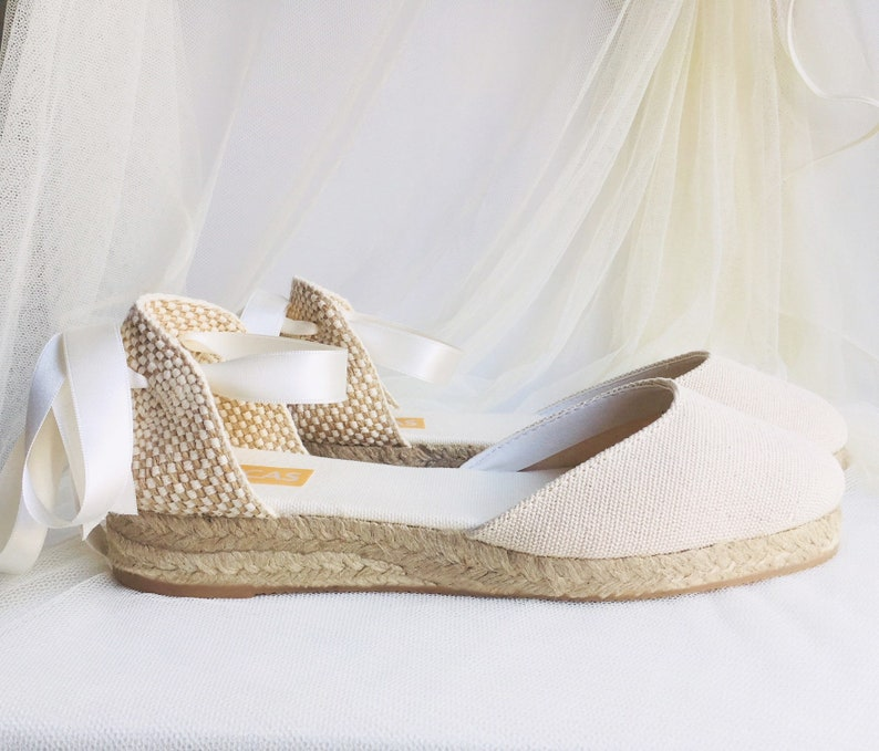 daf516568fc Ivory LOW Heel Chloe Lace Up Espadrille Wedding Bridal shoes
