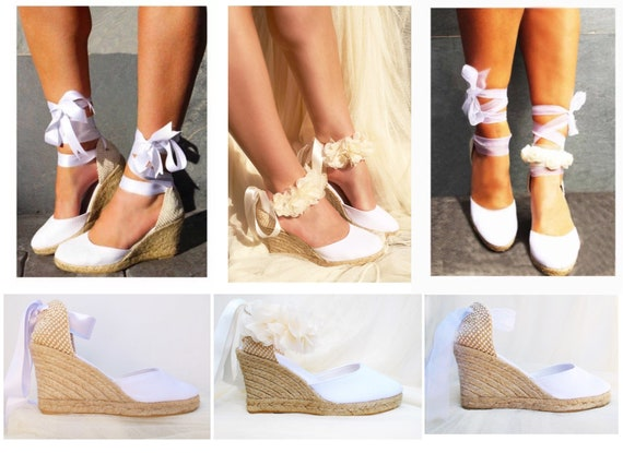 ca4cc3f8951 White CHLOE Medium Wedge Lace Up Espadrilles Wedding shoes