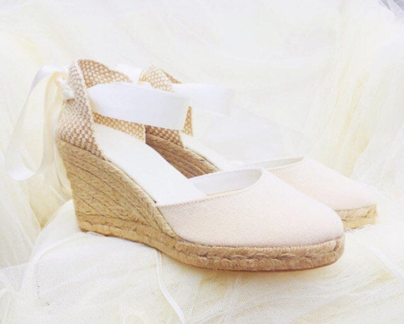 b6f4cabb68624 CHLOE Medium Wedge Lace Up Espadrille Wedding Bridal shoes Ivory, beige,  nude, reception shoes, bachelorette, baby shower, comfortable shoes