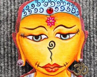 Voodoo ornament, Buddha ornament, voodoo doll,Buddha doll,Buddha eyes,Baby Buddha,Inspirational art,Meditation art,Buddha decor,eclectic art