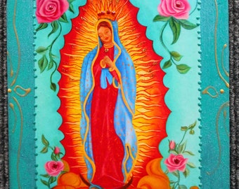 Mexican art, Mother Mary, Our Lady of Guadalupe, Ethnic art, Guadalupe Icon, , Icon wood plaque, Religious art, Religious Icon, altar art