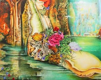 mystical art, fantasy art,canvas print, spiritual landscape art, mystical landscape, surrealistic painting, magical art, inspirational art