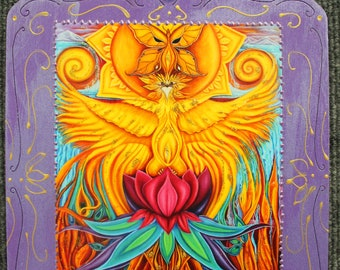 Phoenix artwork,Phoenix wood wall art,spiritual art,phoenix art print,phoenix goddess,phoenix painting,New Earth art,fire bird,altar art