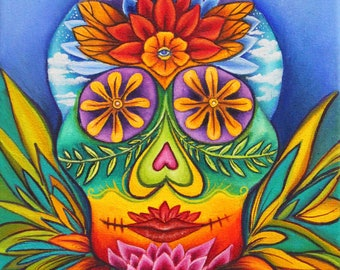 Sugar Skull, Sugar skull art, sugar skull canvas print, Day of the Dead, painted skull, psychedelic art, sugar skull painting,  Mexico art