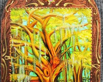tree woman art, forest pagan goddess, goddess altar art, forest fairy, fairy goddess, tree of life art, goddess wall hanging, goddess art