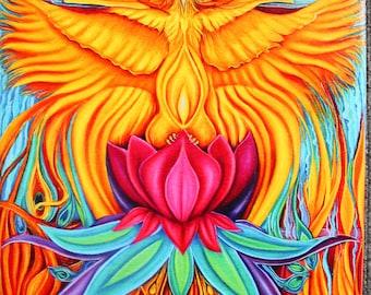 Phoenix Rising canvas print, phoenix art, phoenix wall art, phoenix bird, phoenix painting, phoenix healing art, phoenix wall décor