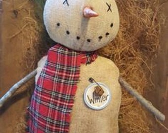 Prim Snowy Snowman Winter sewing Stump Doll e pattern