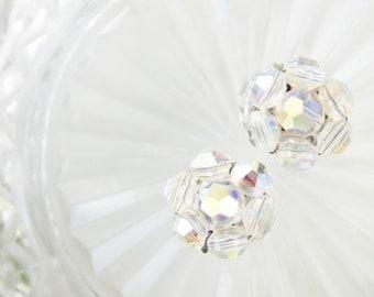 Mad Men Fashion Earrings - Vintage Bridal Jewelry - Aurora Borealis Crystal Earrings