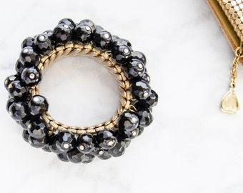 Black Beaded Bracelet - Rockabilly Jewelry - Vintage Cha Cha Bracelet - 1950s Birthday Gift For Her