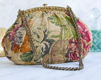 Boho Vintage Wedding Purse - Antique Silk Brocade Bag