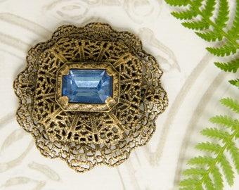 Sapphire Blue Rhinestone Brooch - Vintage 1930s Czech Pin - Downton Abbey - Retro Brooch For Vintage Wedding - Bridal Bouquet - Filigree