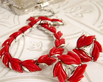 Vintage Thermoset Red Jewelry Set - Vintage 1950s Fashion - Rockabilly Wedding - Mad Men Gift For Her