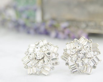 Vintage Weiss Rhinestone Earrings - 1950s Wedding Jewelry - Statement Earings