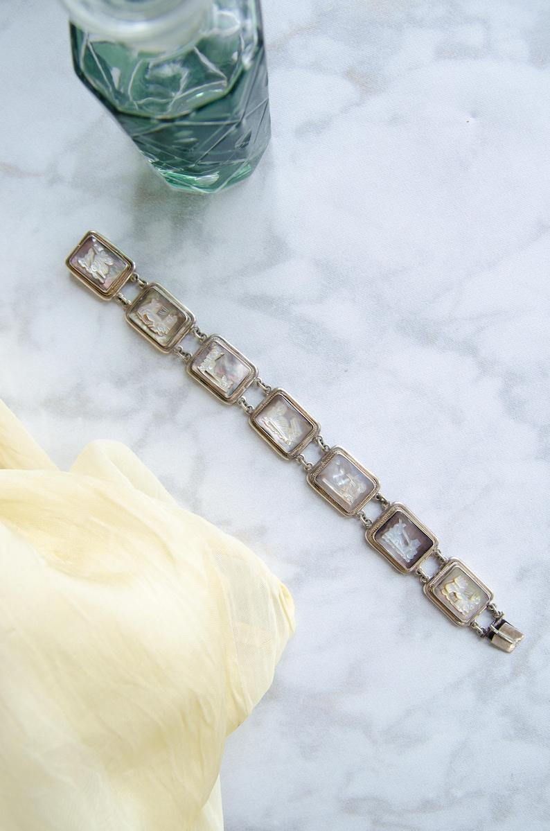 Vintage Silver Jewelry Antique Greek Roman Goddess Bracelet - Art Deco Gift for Her Italian Souvenir Bracelet Cameo Shell Bracelet