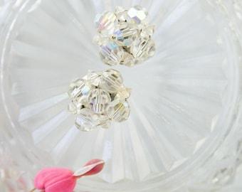 Mad Men Fashion - Vintage Crystal Earrings for Summer Wedding - Rockabilly Jewelry
