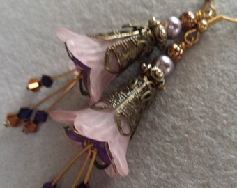 Pale Pink Trumpet Bell and Purple Floral, Victorian Style, Pierced Earrings