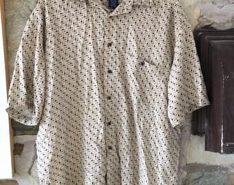 Tan 80s pattern men's party shirt