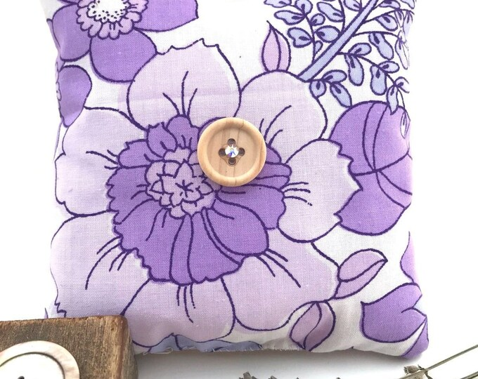 Handmade scented lavender bag - purple vintage 1970's fabric