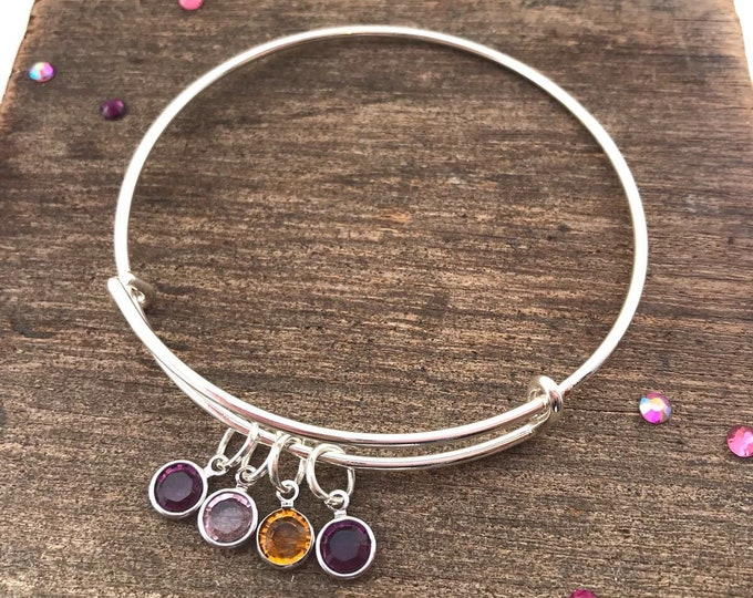 Silver birthstone bracelet, silver charm bracelet, birthstone bracelet, silver bangle, birthstone jewellery, family charm bracelet,