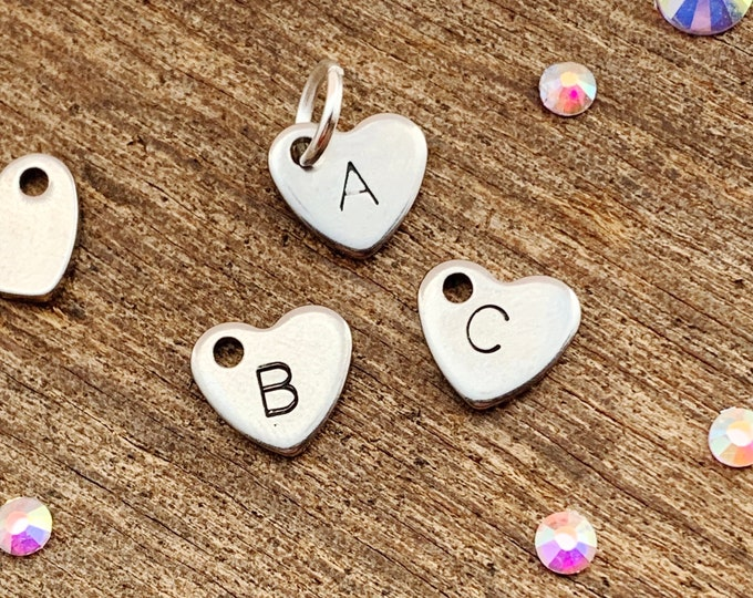 Heart Handstamped Letter Charm - single letter