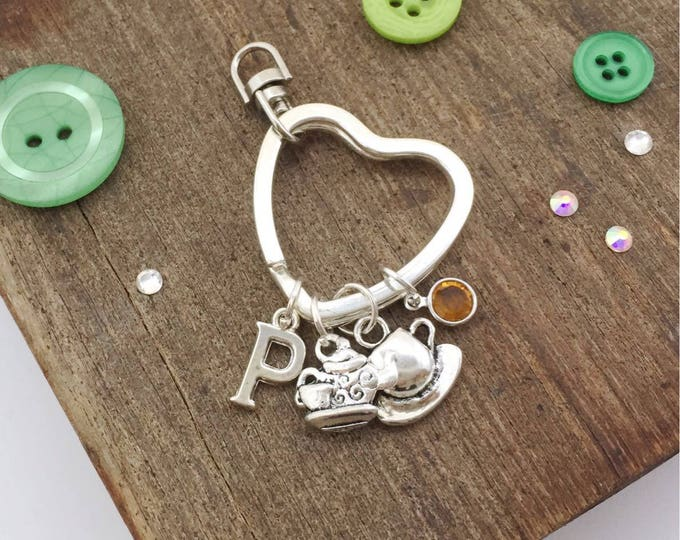 Tea keyring, personalised keyring, personalised gift, tea gift, personalised keychain, teapot keyring, tea lover gift, birthstone gifts, key