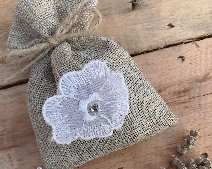 Jute hessian scented lavender bag - white vintage floral applique