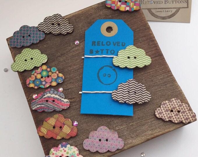 hair clips for women - cloud - wooden button - button - Rain cloud - hair clip - hair pin - hair accessories - hair clips girls - hair slide