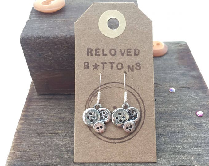 Earrings button, silver button earrings, button earrings, quirky earrings, sewing earrings, fun gifts for her, fun earrings, silver hooks,