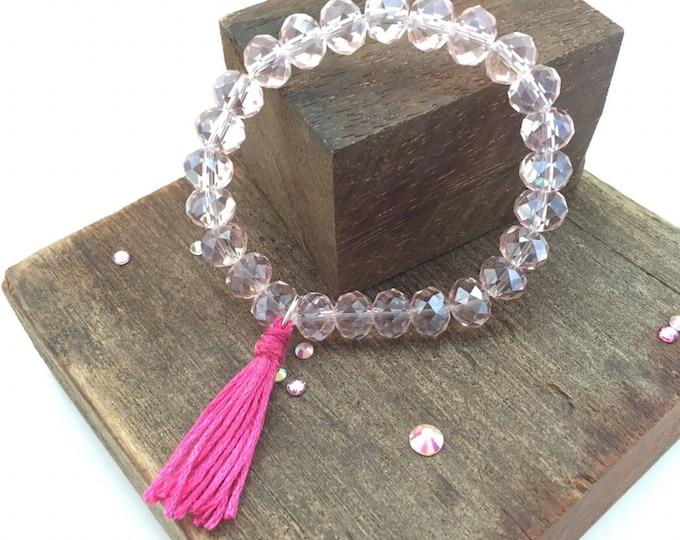 Rose crystal bracelet, crystal bracelet, rose bracelet, crystal rose, stretch bracelet, boho, tassel bracelet, bead bracelet boho, tassel