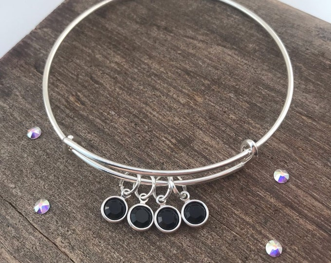 Black Swarovski Family Bracelet