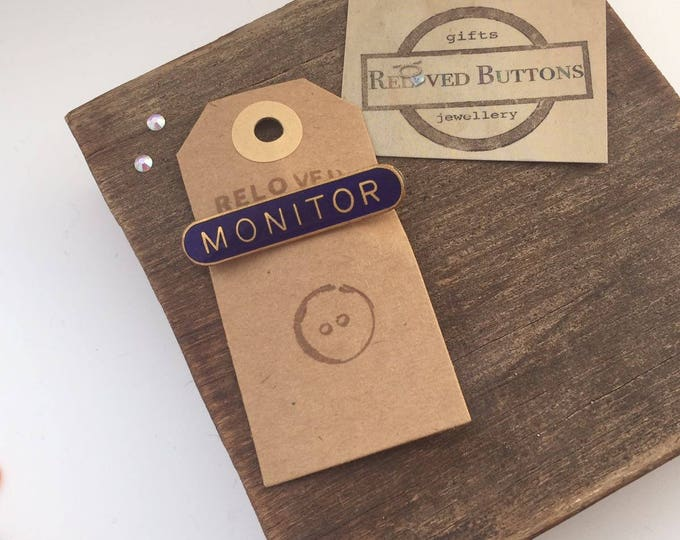 MONITOR vintage school pin - green, blue or yellow