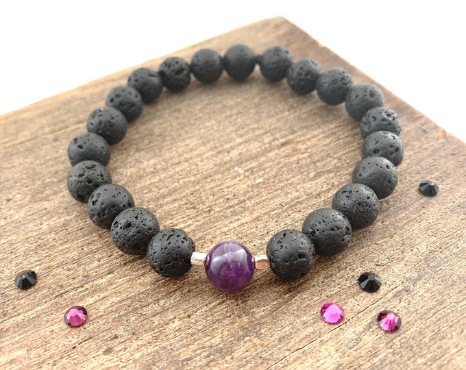 Lava Bead & Amethyst Bracelet