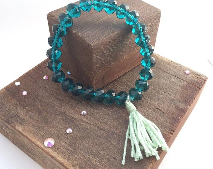 Crystal bead bracelet, crystal bead jewelery, bead bracelet turquoise, bead boho, bracelet beaded boho, tassel bracelet, stretch bracelet,