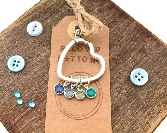 Family keychain, family birthstones, family gift ideas, personalised keychain, heart keychain, personalised keyring, cute gifts for her